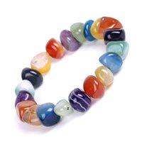 Natural Agate Stone Bracelets Bangles Fashion Men Beaded Strands Irregular Shape Gravel Women Colorful Beads Elastic Bracelet DHA5704