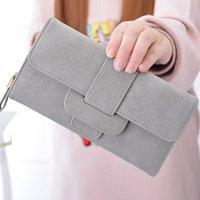 Wallets Women Retro Matte Suede Wallet Long Clutch Bags Coin Purse Tri Fold Leather Hasp Nubuck Card Holder Purses Portfolio