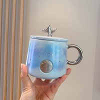 2021 Summer Starbucks Tumblers Double Fish Tail Blue Star Sky Goddess Bronze Mug Coffee Milk Ceramic Cup with Cover
