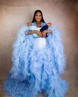 Amazing Sexy Sky Blue Plus Size Maternity Dresses Robes Custom Made Long Women Sheer See Through Tulle Prom Evening Gowns