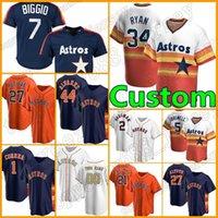 Ретро 34 Nolan Ryan Astros Custom 27 Jose Altuve Jersey 2 Alex Bregman Бейсбол Houston 7 Craig Biggio 99 j.j. Watt 43 Lance Mccullers