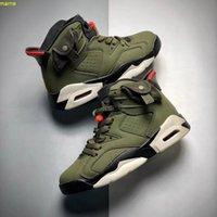 Mais novo 6 Medium Olive Kids Basketball Shoes barato 6S Black-Sail-University Red Children Girls Boys Designer Sneaker