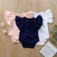 kids clothes girls boys Solid romper newborn infant ruffle Flying sleeve Jumpsuits Summer baby Climbing clothing C2453