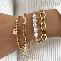 Link, Chain DIEZI Multilayer Gold Color Bracelet Sets For Women Fashion Baroque Pearl Letters Charm Bracelets Bangles 2021 Jewelry