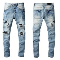 2021 Новые мужские роскоши дизайнеры джинсовые джинсы дыры брюки байкерские брюки # 679