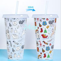Cold discoloration plastic tumbler 710ml cup creative net red straw water PP temperature manufacturer