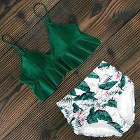 Sexy Bikinis Women Swimsuit 2021 Summer Beachwear Bathing Suits Swim Wear Padded Push Up Swimwear Halter Top Bikini Set Women's