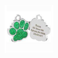 Fashion CH crosin H earts chrome hot new diamond footmark pendant Pet ID Cat Dog Tag hiphop men