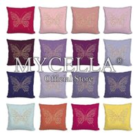 Cushion Decorative Pillow Rhinestone Butterfly Cushion Cover 45x45cm Diamond Painting Throw Pillows For Sofa Nordic Case Home Decoration