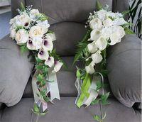 Fiori di nozze Fiori artificiali Cascata Bridal Bouquet Bouquet Bride Bruidsboeket Purple Calli Lily Cascading