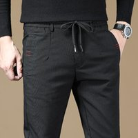 LUREN 2021 Bahar ve Yaz erkek Ince Ekose Rahat Pantolon Yüksek Kalite Streç Iş Uzunluğu Erkek Marka Pantolon