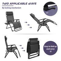 대형 야외 파티오 접이식 Zero 중력 라운지 의자, 캠프 reclining 의자 베개와 풀 사이드, 뒷마당 잔디와 해변, 블랙