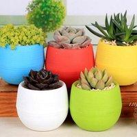Mini colorido redondo planta plástica plantas potenciômetros jardim casa escritório decoração plantador desktop pote multi opções de cor dwd6428