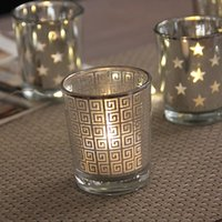 Modern Simple Silver Plated Glass Cup Candle Holders Home Living Room Decoration Candlesticks Bar Restaurant Cup Stand Holder