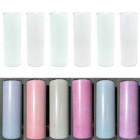 UV Renk Değiştirme Skinny Tumbler 20 oz Süblimasyon Düz Tumblers Paslanmaz Çelik Vakum Yalıtımlı Kupalar Kapak ve Plastik Straws ZZA3334