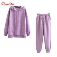 Damen Hoodies Sweatshirts Zhuishu Winter Frauen Fleece Hoodie Japanische Mode 2021 Übergroße Damen Pullover Warm Pocket Mit Kapuze Jacke