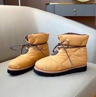 Kadın Yastık Düz Aşağı Tasarımcılar Boot Eiderdown Dantel-Up Kış Kar Ayak Bileği Çizmeler Yüksek Kalite Platformu Isınma Snowboot Mesh İç Katmanlar No330