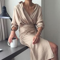 Casual Dresses Autumn Elegant Womens V Neck Long Sleeve Bandage Solid Office Formal Comfort Dress Knee Length