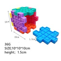 Anti Stress Puzzle Fidget Giocattolo Push Bubble Sensorio Sensorio Silicone Bambini Rubik's Cube Squeezy Squeeze Desk Toys 100pcs / NUOVO