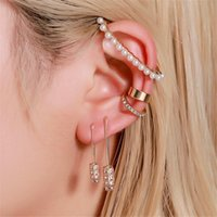5pcs set Boho Gold Metal Imitation Pearl Women Ear Clip Creative Pin Earrings Simple Jewlery Stunning Accessories Stud