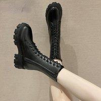 Boots Autumn Women Fashion Black Leather Platform Gothic Punk Combat Mid-Calf For Botas De Mujer 2021