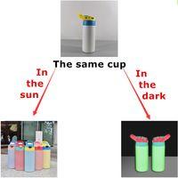 بالجملة! التسامي الأخضر توهج الأشعة فوق البنفسجية اللون تغيير 12 أوقية على التوالي الاطفال الاطفال المرفأ متوهجة في الظلام اللون اللون في زجاجات المياه الفولاذ المقاوم للصدأ A12