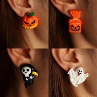 6 unids / set Europeo y Americano Nuevo Divertido Halloween Pendientes Simulación Plástico Grimace Pumpkin Ghost Grim Reaper Ghost Festival Pendientes