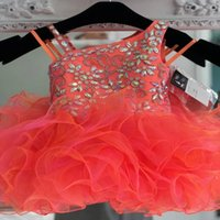 Modern Orange Cupcake Toddler Girls Pageant Dresses Ball Gown Short Crystal Rhinestones Kids Teens Little Girl First Communion Party prom Formal Dress Ruched