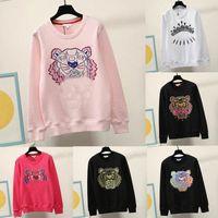 Bordado Tiger Head Sweatshirts Homens Mulheres Com Capuz de Alta Qualidade Manga Longa O-Pescoço Pullover Jumper Rosa Cores A31J #