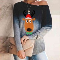 Natale Elk Stampa Donna T Shirt Sexy Sexy Sexy Collar Manica Lunga PullOver Top TEE AUTUNNO AUTUNNA Plus Size Tshirt natalizia Femme 210507
