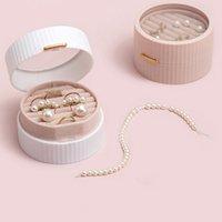 Mini camada dupla flanela caixas de armazenamento de jóias redonda titular de pacote de joias protetíveis para anel brinco bracelete colar