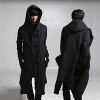 Autumn winter men punk hip hop slim fit long trench coat hooded cloak cardigan mens linen rope design gothic jackets overcoat