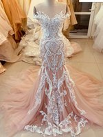 2021 Plus Size Arabic Aso Ebi Champagne Mermaid Sexy Wedding Gowns Sheer Neck Beaded Vintage Bridal Dresses ZJ253