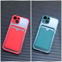 New Arrival Fashion Matte High Quality Color Bumper Mobile Phone Cases for iPhone 12 13 Pro Max Soft Tpu Clear Card Pocket Dirt-resistant Wallet Case