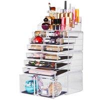 化粧品化粧品ジュエリービッグ収納ケースディスプレイ統合、アクリル、口紅の宝石と化粧ブラシ、ドレッサー、バスルームのカウンタートップ