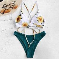 Women's Swimwear Floral Bikinis 2021 Mujer Women Push-up Padded Bra Bandage Bikini Set Sexy Swimsuit Lace Up Bathing #PY