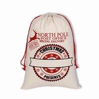 새로운 2021 크리스마스 가방 대형 캔버스 단일 산타 클로스 Drawstring 가방과 reindeers 모노 그램 블리스마스 선물 자루 가방