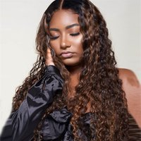 레이스 프론트 인간의 머리 가발 흑인 여성용 옹 브레 브라질 곱슬 머리 레이스 정면 가발