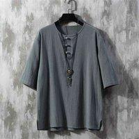 Vento chinês restaurando maneiras antigas botão solto algodão e linho homens lazer jóia 210726
