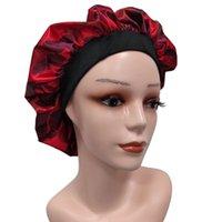Designer Women Sleeping Cap Bonnets Unisex Nightcap Bathroom Accessories Double-deck Satin Wide-brimmed Shower Caps Makeup Cap 16 Colors