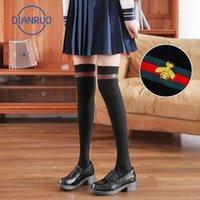 Dianruo autunno inverno calzini alti calze ricamate femmina calzini sopra il ginocchio lungo cotone coscia studente Q483