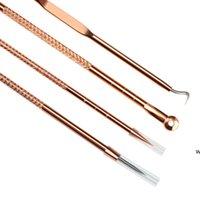 4pcs / set Home Edelstahl Blackhead Comedone Extraktor Rose Gold Silber Pickelfleck Reinigungsmittel Schönheit Gesicht Reinigung Pflege Werkzeuge DHE6016