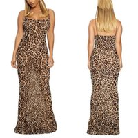 Women maxi casual dresses summer clothes sexy club elegant scoop neck spaghetti strap sleeveless backless sheath column leopard evening party wear hot sell 03137