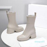 newest women designer betty rubber rain boots block heel sleek square toe pvc leather boot style woman shoes size 35-40 1333