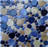 Wallpapers Blue Beige Glazed Pebble Ceramic Mosaic Tile For DIY Kitchen Backsplash Bathroom Shower Garden Pool Floor Wall Brick, 11 PC