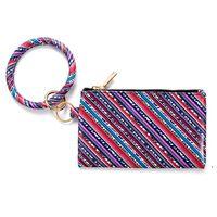 PU Keychain Bracelet Wallet Leather Tassel Pendant Handbag Leopard Sunflower Print Bracelet Ladies Bag Gift FWE6609
