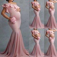 Сексуальные платья для беременных для фотосъемки ruffles длинные беременности dresrops 2021 Детский душ беременных женщин Maxi платье