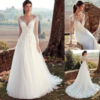 A-line Wedding Dresses With Illusion Back Jewel Neckline Lace Appliques Long Sleeves Bridal Dress Tulle Skirt