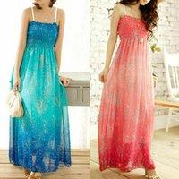 Casual Dresses Women Dress Boho Chiffon Summer Sleeveless Fashion Elegant Sequins Gradient Color Print Maxi Long Sundress Party Beachdress