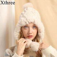 Xthree-Ohrklappe Winterfrauen warme kitzelte Hut mit Kaninchen-Pelz-Kappe-Trapper Pom Bomber-Hüte